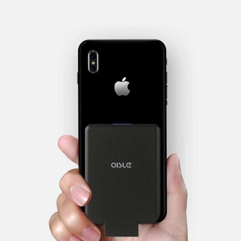 Batterie externe sans fil mince chargeur de batterie de secours externe pour iPhone 8/Samsung S6/One plus 5/HTC boîtier d'alimentation récepteur Qi intégré - 3