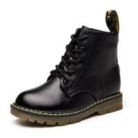 2018 Winter Autumn Fashion Boys boots Genuine leather Martin Boots Children Rubber Non slip Sneaker Shoes for kids girl boy