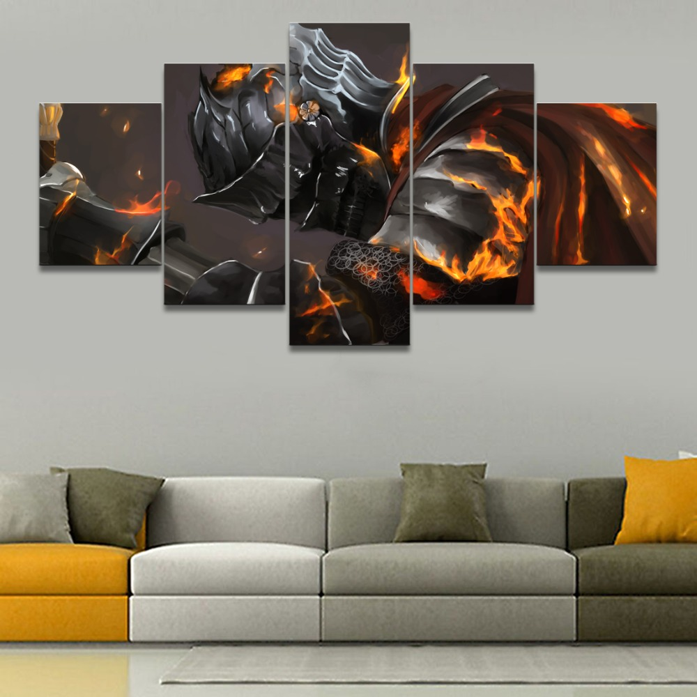 US $10 4 48% OFF|Modern Canvas Printed 5 Panels Armor Dark Souls III Knight  Game Warrior Poster Home Decor Wall Art Modular Picture For Bedroom-in