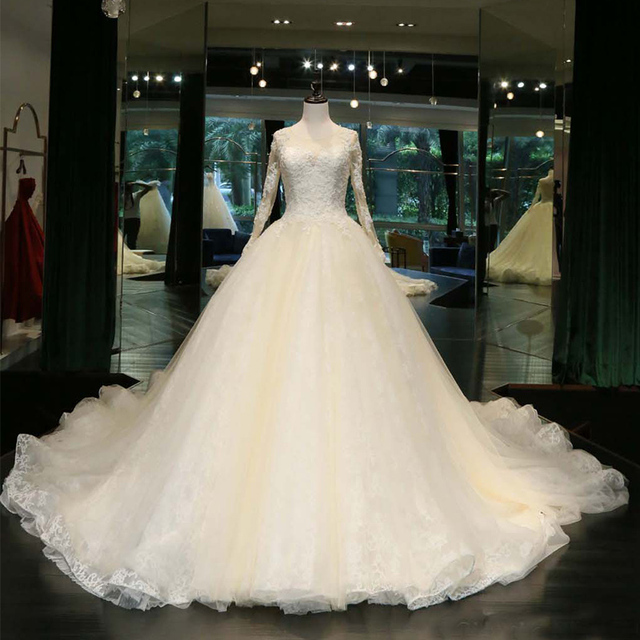 Luxury Crystal Cathedral Wedding Dress with Lace