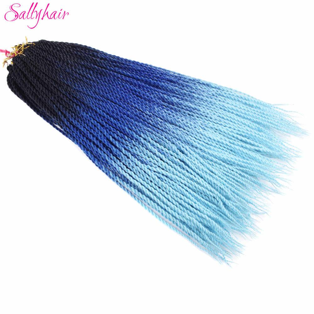 Sallyhair, 20 прядей, Омбре, цвет сенегаль, закрученные косички, волосы для наращивания, синий, серый, высокая температура, синтетические, вязанные, косички