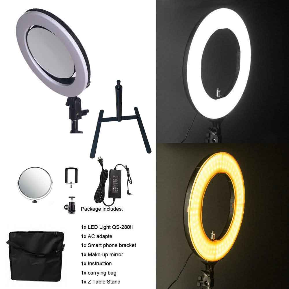 Yidoblo QS-280 10 Camera Selfie makeup Photo/Studio/Phone/Video LED Ring Light Photography 28W Bio-color Ring Lamp with handbagYidoblo QS-280 10 Camera Selfie makeup Photo/Studio/Phone/Video LED Ring Light Photography 28W Bio-color Ring Lamp with handbag