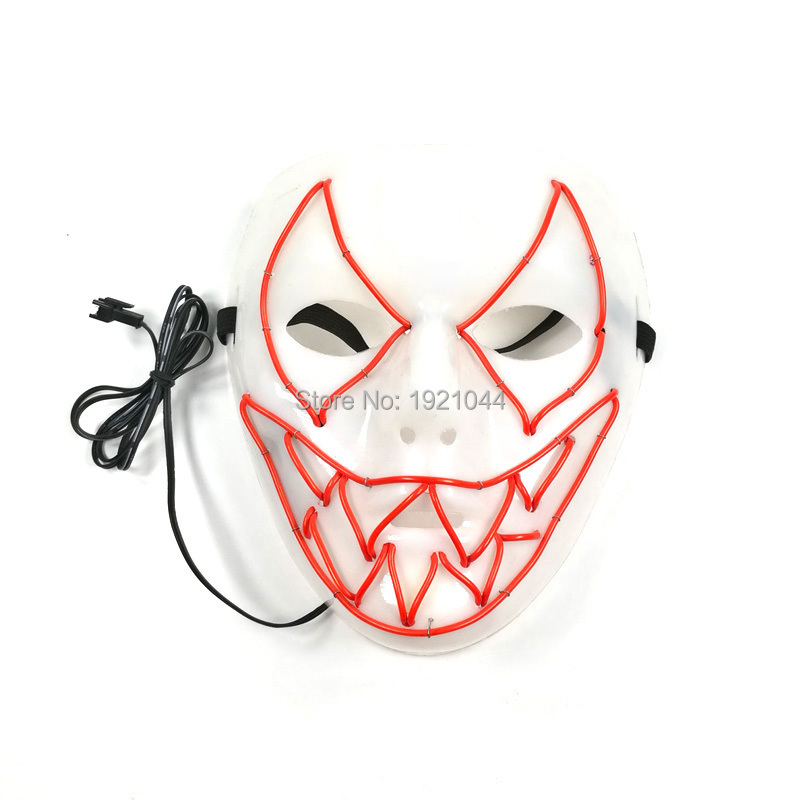 High-grade 10 Color available LED Neon Cold Light Mask EL Wire Mask Luminous Dance DJ Mask with DC-3V Voice Controller