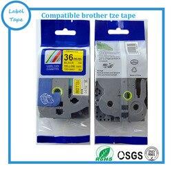 Compatibel 36mm TZ tape TZ-s661 tz s661 sterke lijm Zwart Op Geel P-touch label tze s661 tze-s661