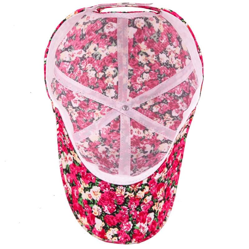 f267112adaf26 2018 Samll Floral Baseball Cap For Women Summer Beach Fashion Flower Sun hat  Breathe Freely Mesh Bone Cap with Women Lady Girls -in Baseball Caps from  ...