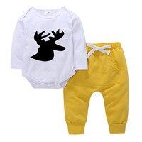 Новорожденного для маленьких девочек одежда с олененком Комплект комбинезон с принтом + штаны для маленьких мальчиков комплект одежда для