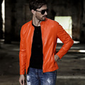Cool Color Orange Black Men Blouson Cuir Hoome Autumn Slim Fit PU Zipper Jackets Faux Leather Solid Color Turtleneck Biker Coats