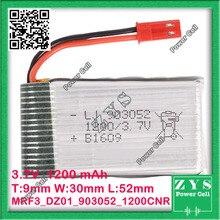 A Embalagem de segurança, Conector de 2 pinos 3.7 V bateria de Polímero de lítio 903052 1200 mah para UAS Zona mini drone Drone UAV fpv Tamanho: 9x30x52mm