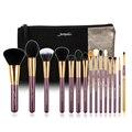 Jessup marca 15 unids belleza pinceles de maquillaje herramienta pincel púrpura y oro t095 y bolsas de cosméticos mujeres bolsa cb002