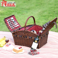 Outdoor Picnic Basket Heat Preservation Willow Braided Basket Rattan Braided Holding Basket Portable Picnic Basket With Cover Ca