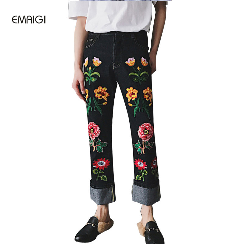 Male Jeans Fashion Straight High Quality Flowers Embroidered Jeans Pant Men Denim Pant Jean Trousers toonies brand jeans men four seasons high quality straight full length blue hip hop jean male denim skinny men s jean pant homme
