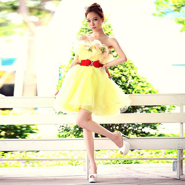 2017 recién llegado de cóctel dress for women amarillo claro elegante con red sash sexy mini vestido formal