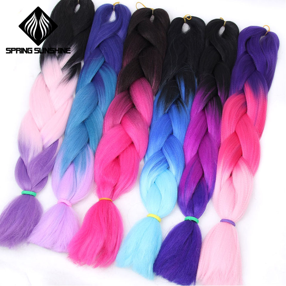 Весна солнце 24 дюйм(ов) ов) г/шт. 100 Длинные Синтетические Ombre вязаный крючком канекалон косы больше цветов для Jumbo пряди волос красный фиолетовый