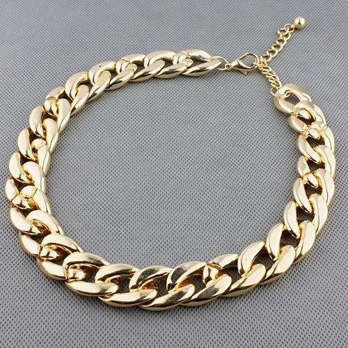 Women Simple Punk Style Cut Link Chain Choker Shiny All Match Necklace Jewelry trendy