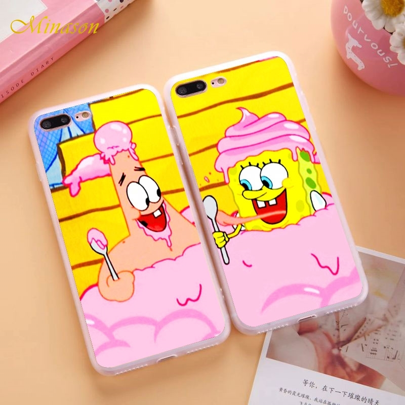 Minason Funny Cartoon SpongeBob and Patrick are Best Friends Case For iPhone X 8 5S 5 SE 6 6S 7 Plus BFF Silicone Soft Cover image