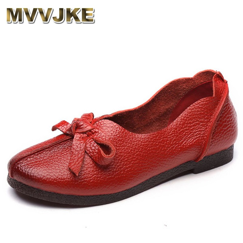 MVVJKE Women Flats Old Mother Shoes Loafers Cow Genuine   Leather     Suede   Rubber Vintage Slip On Bowknot Casual 35-40 E100