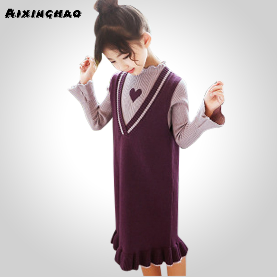 Aixinghao Children Clothing Sets Teenage Knitting Sweater + Dress 2PCS Girls Clothes For Kids Spring Autumn Girls Suits children sets girls winter sweater coat