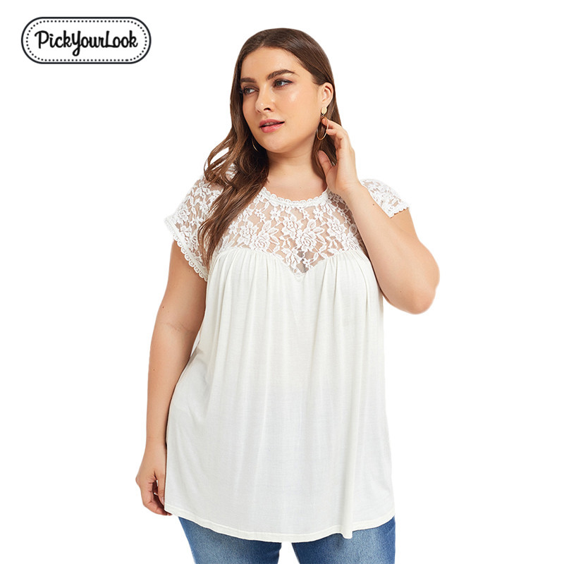 Lace Plus Size Women Blouses Shirt Short Sleeve Summer White Mesh Large Size Lady Tops Blouses Female Floral Embroidered Blusas
