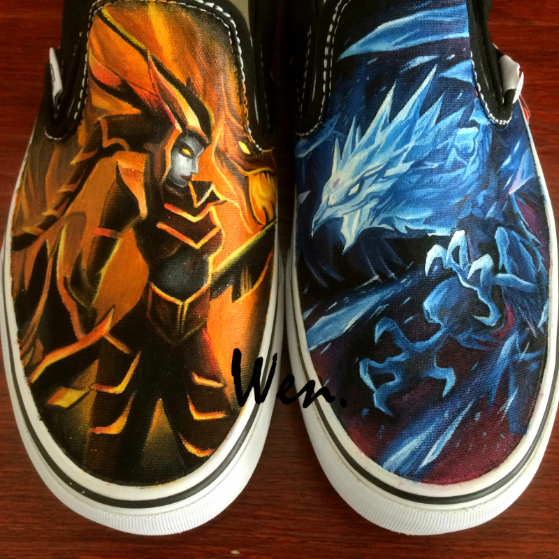 Wen Custom Canvas Athletic Shoes Design Anivia Cryophoenix Half-dragon Hand Painted Shoes Black Slip On Boys Girls Sneakers wen design hand painted shoes custom anime samurai champloo slip on canvas sneakers for men women s special gifts