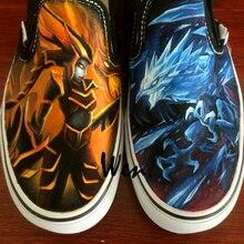 Wen Custom Canvas Athletic Shoes Design Anivia Cryophoenix Half-dragon Hand Painted Shoes Black Slip On Boys Girls Sneakers