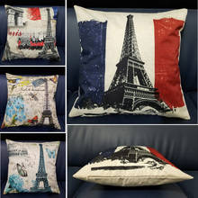 45*45cm Vintage Style Flowers Butterfly France Tower Letters Cushion Cover Cotton Linen For Sofa Bed Home Decor Pillow Case