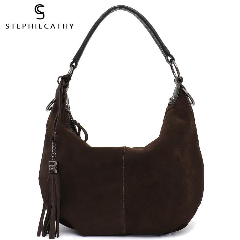 2a5159e7d6c1 SC женская натуральная раздельная замшевая кожаная сумка через плечо  подушка для женщин для отдыха Nubbuck Повседневная сумка мессенджер Хобо ..
