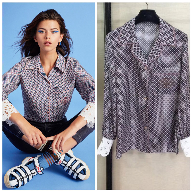 Silk dot shirt long sleeve lapel embroidered pattern women s shirt fashionable spring and summer show