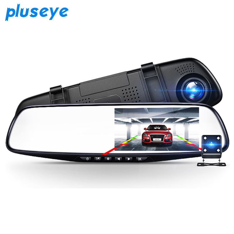 pluseye 4.3 inch Car Dvr detector Camera Blue Review Mirror DVR Digital Video Recorder Auto Camcorder Dash Cam FHD 1080P image