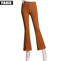Plus Size XXL Black Kakhi Slim Wide Leg Flare Pant Skinny Trousers Streetwear OL Basic High