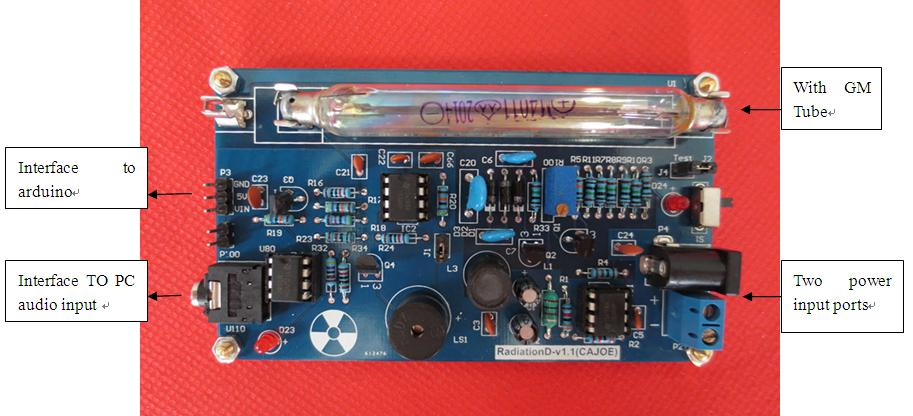 Free Shipping Assembled DIY Geiger Counter Kit; Nuclear Radiation Detector;GM Tube