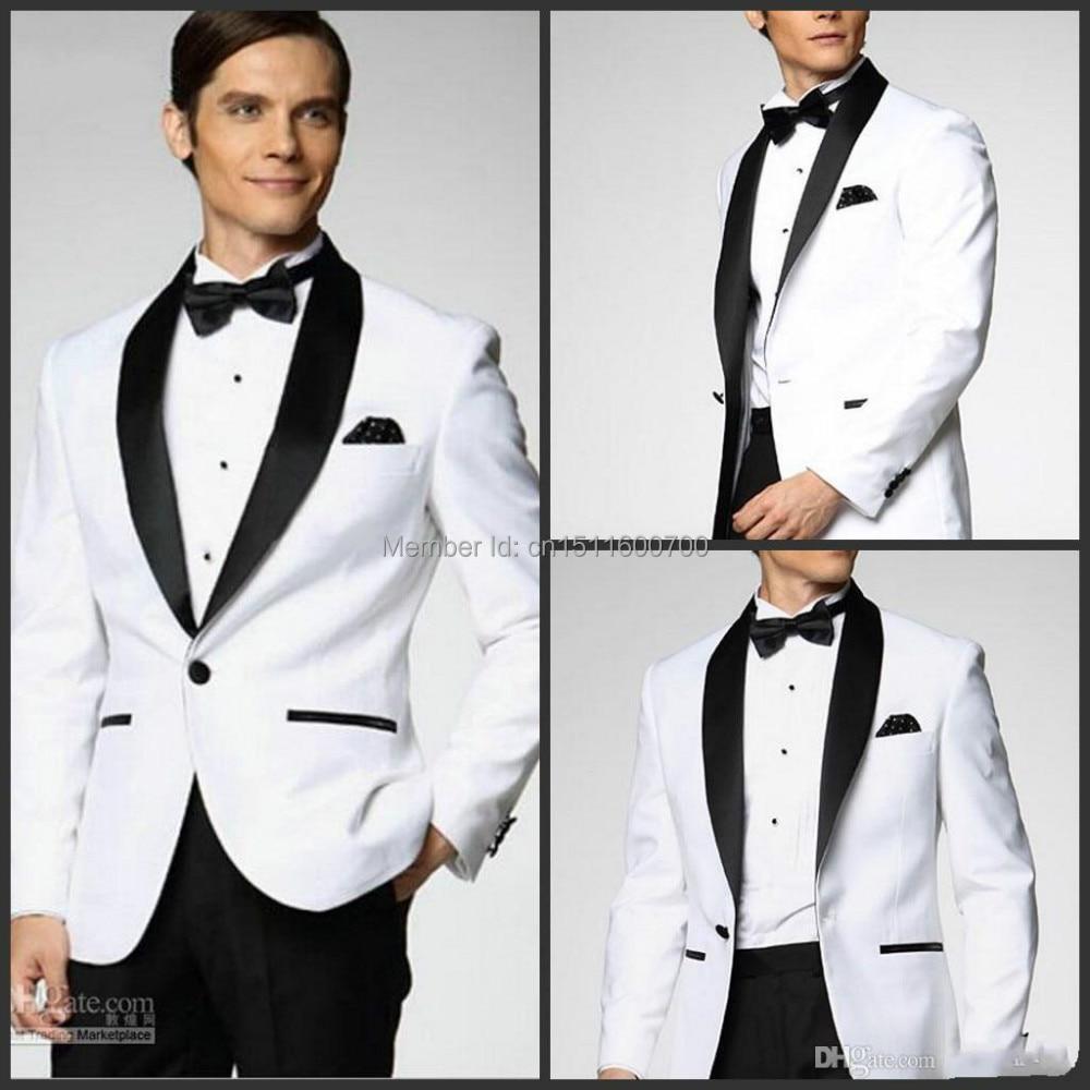 Online Shop White coat and black satin lapels dress the groom ...