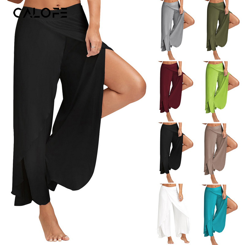 Vintage Summer High Waist Solid Fashion Bottoms Long   Pant   Female Plus Size 5XL   Wide     Leg     Pants   Chiffon For Women