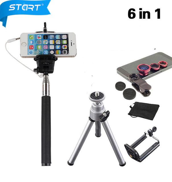 6in1 Проводной Selfie Stick держатель 3 в 1 Объектива Камеры Комплект Рыбий Глаз рыбий глаз 0.67 Макро-объектив для Xiaomi redmi Note 3 Pro объектив