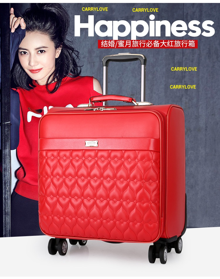 CARRYLOVE fashion luggage 16/20/24 size High-quality red PU Rolling Luggage Spinner brand Travel Suitcase