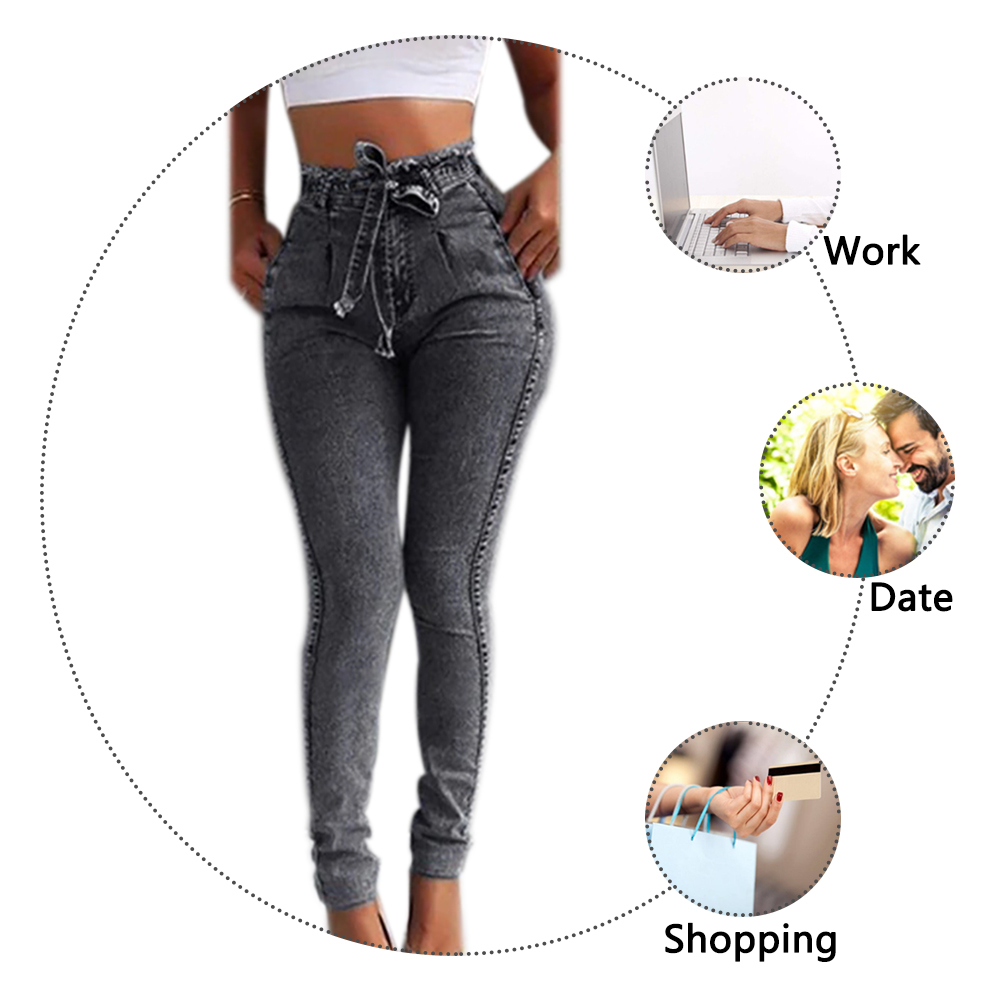 HTB1yGyHU9zqK1RjSZFHq6z3CpXaT Summer Solid Skinny Jeans Woman Casual Pencil High Waist Jeans Tassel Drawstring Slim Jean Femme Stretch Demin Ladies Jeans
