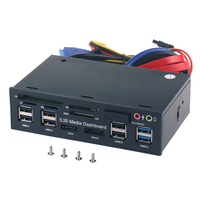 Multifuntion 5.25 inch Media Dashboard Card Reader USB 2.0 USB 3.0 20 pin e SATA SATA Front Panel for Optical Drives Bay