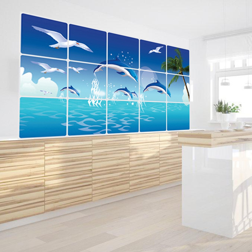 Fish tiles bathroom - 1pc Waterproof Bathroom Kitchen Wall Sticker Tile Aluminum Foil Home Decor Wall Sticker Dolphin Fish Beach