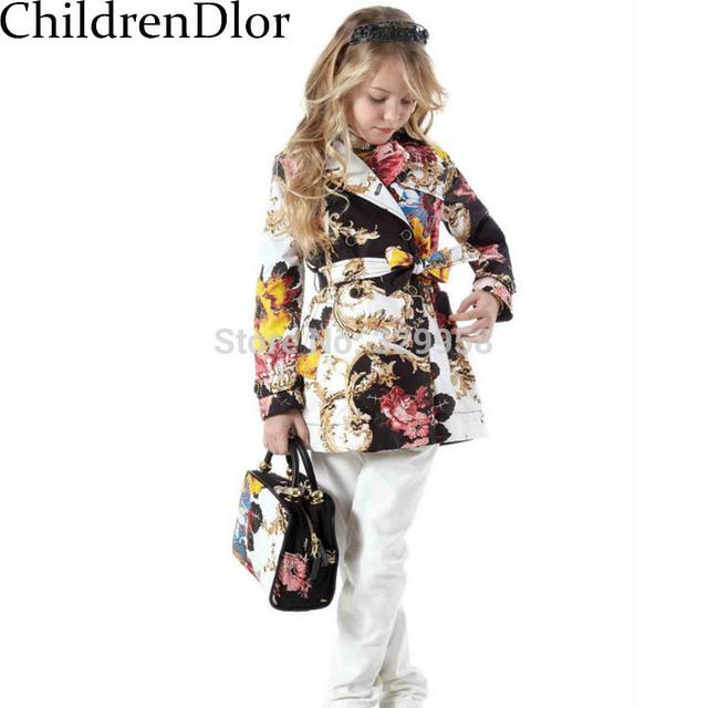 Chicas Trench Coat Niños Abrigos 2014 Otoño Primavera Larga Outwear Niños Chaquetas de Estilo Europeo Con Turn-Down Collar Floral imprimir
