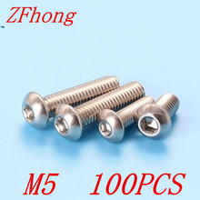 50pcs ISO7380 M5*8/10/12/16/20/25/30/35/40/45/50 A2 Stainless Steel Hex socket Button Head Screw Screws