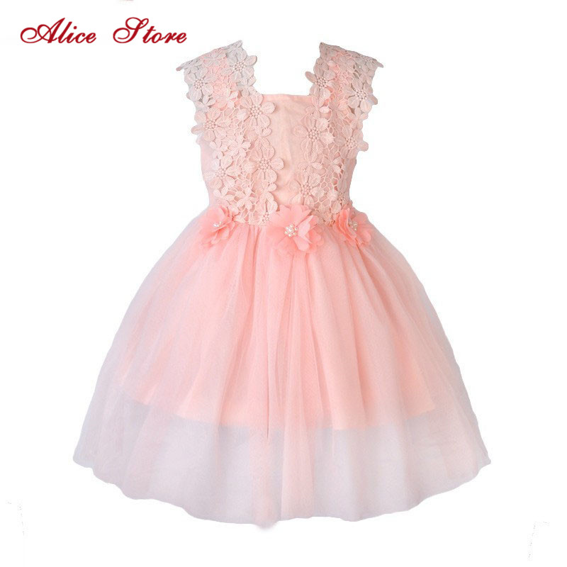 Alice Flower Girl New Party Dress Summer 2018 Girl's Tulle Dress Flower Applique Waist Decoration Tank Dress