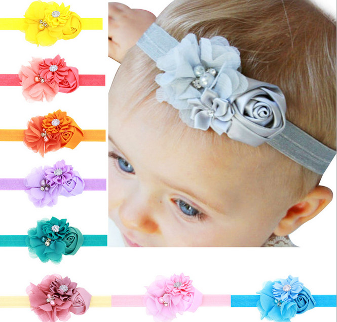 13Clrs Newborn Baby Girls Satin Ribbon Flower Headbands Photography Props Infant Baby Headband children Accessories