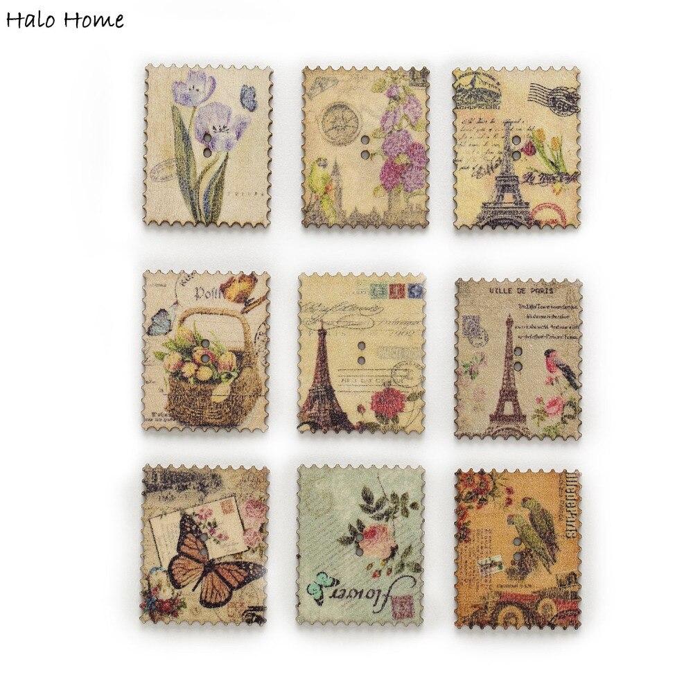 30pcs Wooden Sewing Buttons Vintage Postage Stamp Scrapbooking DIY Handcrafts