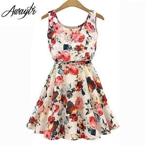 Women Summer Dress 2019 AWAYTR Brand Boho New Apricot Sleeveless O-Neck Florals Print Pleated Party Clubwear Formal Dress(China)