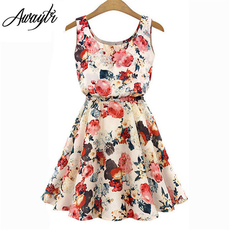 Women Summer Dress 2019 AWAYTR Brand Boho New  Apricot Sleeveless O-Neck Florals Print Pleated Party Clubwear Formal Dress