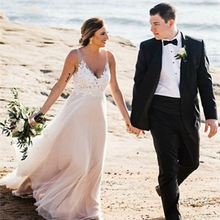 Thinyfull Beach Wedding Dress A-Line Lace Appliqued Bridal Gowns Illusion Sleeveless Custom made Plus size