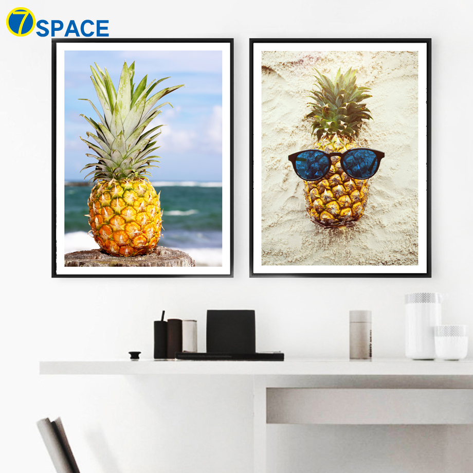 Pineapple Beach Seascape Nordic Poster Wall Art Canvas Painting Posters And Prints Wall Pictures For Living Room Art Print Decor in Painting Calligraphy from Home Garden