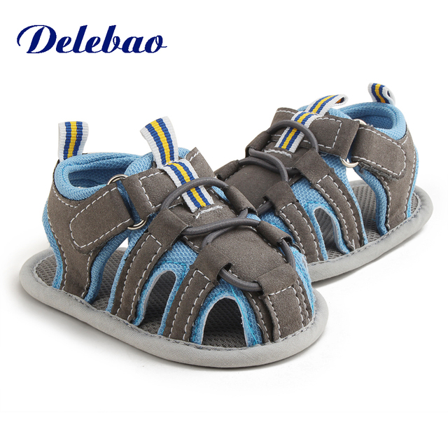 Delebao 2018 New Design Five Colorful Styles Knitted Lace Hook & Loop Flat Heel Summer Baby Girl Sandals For (0-18) Months Baby