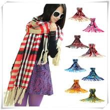 Sali 2016 Newly Design Fashion Women s Tartan Scarf Shawl Tassels Knitting Scarf Plaid Pahsmina
