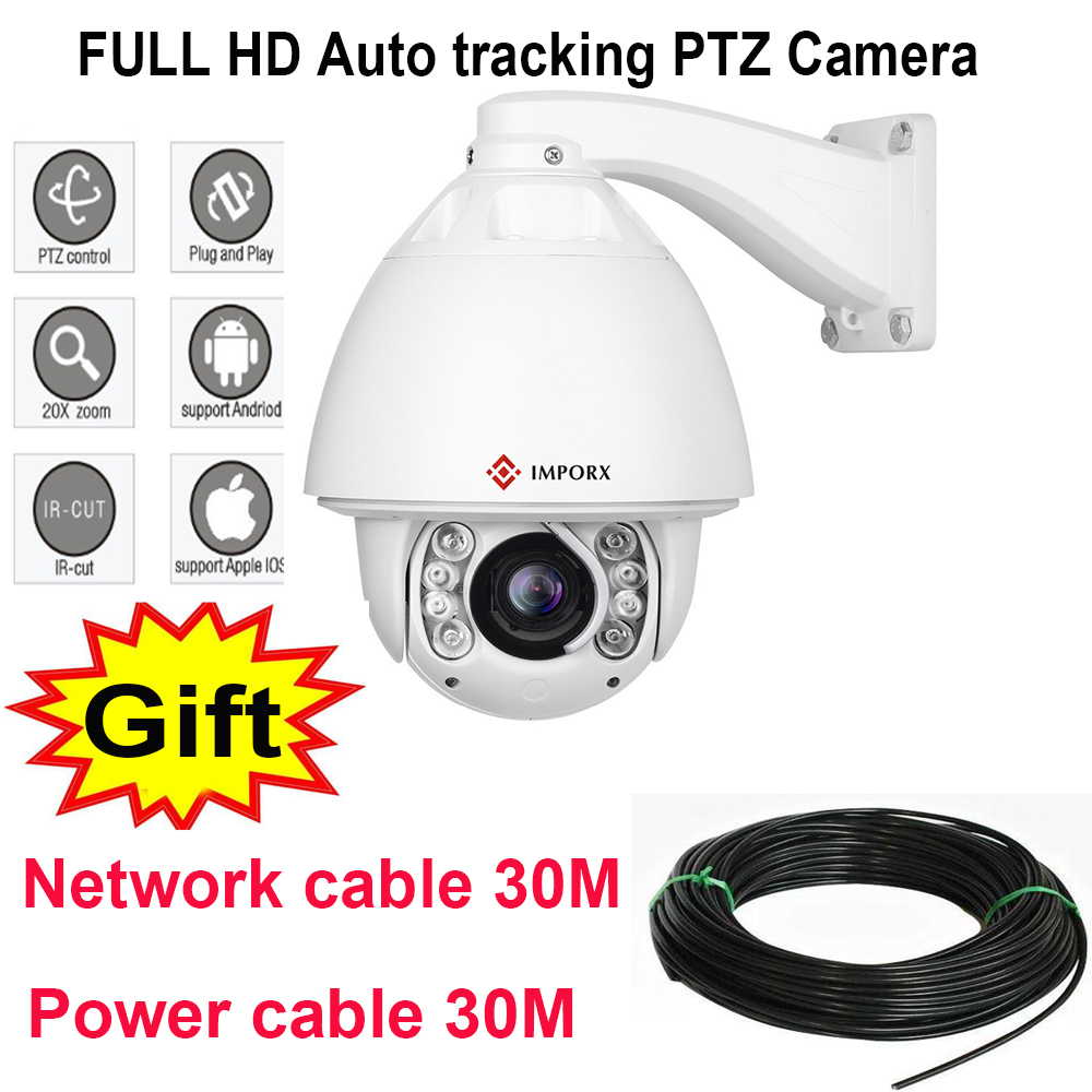 1080PHD 4.7~94mm PTZ Auto Tracker High Speed PTZ 20x Zoom IRCut Night Vision P2P Security IP Dome Camera ONVIF 4 in 1 ir high speed dome camera ahd tvi cvi cvbs 1080p output ir night vision 150m ptz dome camera with wiper