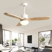 Nordic Loft Led Ceiling Fan Light Fashion Double Color Change Living Room Restaurant Cafe Wooden Fan Lamp With Remote Control